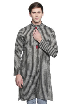 Men's Indian Kurta Tunic : Handloom Cotton with Stripe Print - Front | In-Sattva