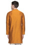 Men's Indian Long Kurta Tunic : Mustard - Back | In-Sattva