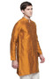 Men's Indian Long Kurta Tunic : Mustard - Side | In-Sattva