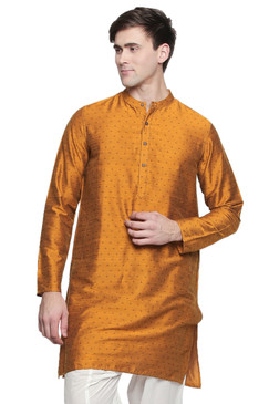 Men's Indian Long Kurta Tunic : Mustard - Back | In-Sattva