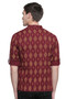 Men's Kurta Tunic : Handmade with Ikkat Print - Back | In-Sattva