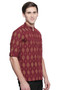 Men's Kurta Tunic : Handmade with Ikkat Print - Side | In-Sattva