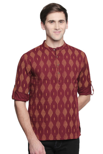Men's Kurta Tunic : Handmade with Ikkat Print - Front | In-Sattva