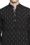 Men's Indian Long Kurta Tunic : Black with Ikkat Print - Garment details | In-Sattva