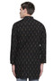 Men's Indian Long Kurta Tunic : Black with Ikkat Print - Back | In-Sattva
