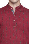 Men's Indian Long Kurta Tunic : Red with Ikkat Print - Garment details | In-Sattva