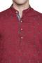 Men's Indian Long Kurta Tunic : Red with Ikkat Print - Garment details | In-Sattva