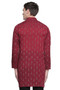 Men's Indian Long Kurta Tunic : Red with Ikkat Print - Back | In-Sattva