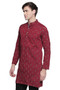 Men's Indian Long Kurta Tunic : Red with Ikkat Print - Side | In-Sattva