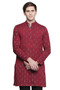 Men's Indian Long Kurta Tunic : Red with Ikkat Print - Front | In-Sattva