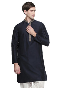 Men's Indian Kurta Tunic : Black with Embroidered Collar - Front | In-Sattva