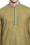 Men's Indian Kurta Tunic: Olive with Embroidered Placket - Garment details | In-Sattva