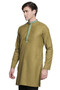 Men's Indian Kurta Tunic: Olive with Embroidered Placket - Side | In-Sattva