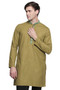 Men's Indian Kurta Tunic: Olive with Embroidered Placket - Front | In-Sattva