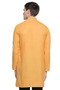 Men's Indian Kurta Tunic: Mustard with Embroidered Placket - Back   In-Sattva