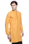 Men's Indian Kurta Tunic: Mustard with Embroidered Placket - Side   In-Sattva