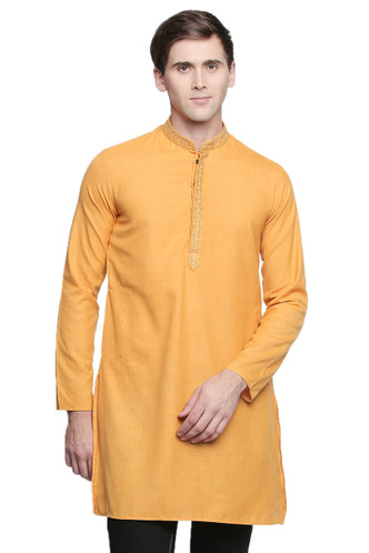 Men's Indian Kurta Tunic: Mustard with Embroidered Placket - Front   In-Sattva