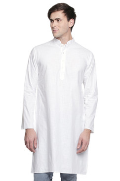Men's Indian Kurta Tunic: White - Front | In-Sattva