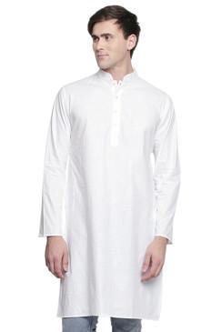 Men's Indian Kurta Tunic: White - Front | In-Sattva