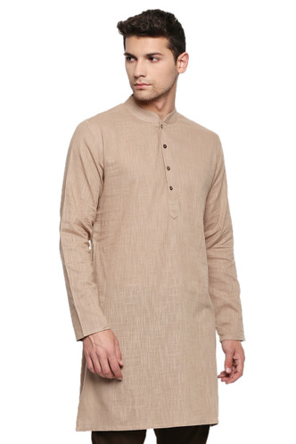 Men's Indian Kurta Tunic: Light Beige - Front | In-Sattva