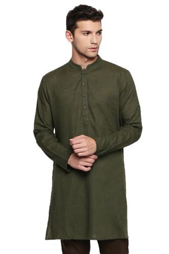 Men's Indian Kurta Tunic: Bottle Green - Front | In-Sattva