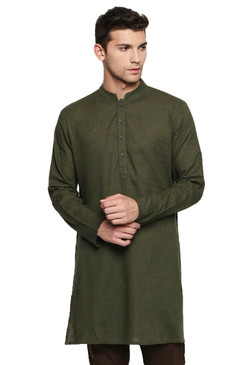 Men's Indian Kurta Tunic: Bottle Green - Front | In-Sattva