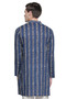 Men's Indian Kurta Tunic with Block Print: Pure Cotton Fabric - Back | In-Sattva