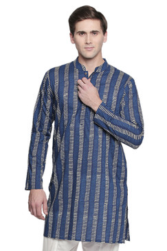 Men's Indian Kurta Tunic with Block Print: Pure Cotton Fabric - Front | In-Sattva