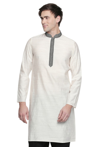 Men's Indian Kurta Tunic: Royal White - Front | In-Sattva