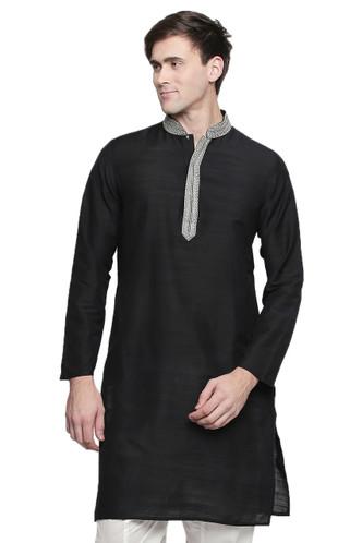 c090750d0e5 Men's Indian Kurta Tunic: Royal Black - Front | In-Sattva