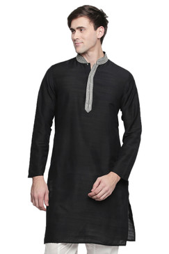 Men's Indian Kurta Tunic: Royal Black - Front | In-Sattva