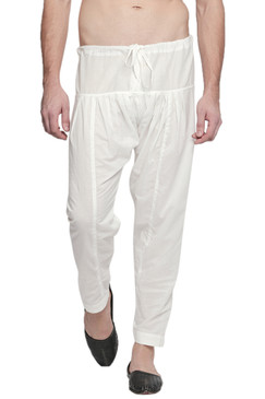In-Sattva Men's Traditional Indian Pure Cotton Off-White Solid Baggy Salwaar and Yoga Pants