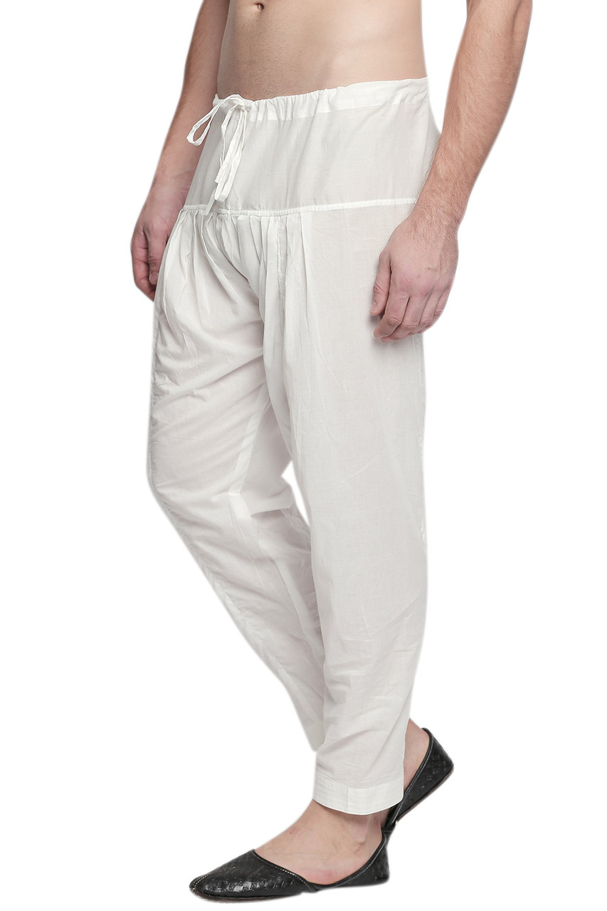 In Sattva Men S Traditional Indian Pure Cotton Off White Solid Baggy Salwaar And Yoga Pants In Sattva
