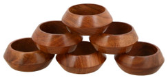 Handmade Rangeene Artisan Wooden Carved Set of 6 Napkin Rings