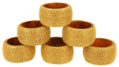 Handmade Rangeene Aluminum Ball Chain Wooden Napkin Ring Set of 6