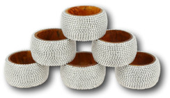 Handmade Rangeene Aluminum Ball Chain Wooden Napkin Ring Set of 6 - Silver
