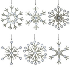 Handmade Rangeene Large Snowflake Christmas Tree Ornament - set of 6
