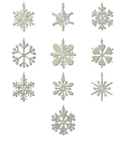 Handmade Rangeene Snowflake Christmas Tree Ornaments - set of 10