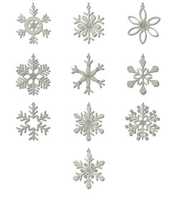 Handmade Rangeene Snowflake Christmas Tree Ornaments - 10 in a set