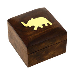 Handmade Pure Wooden Jewelry Box for Wedding and Engagement Rings with Brass Carved  Elephant Charm