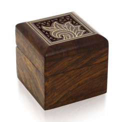 Handmade Pure Wooden Jewelry Box with Carved Brass and Wood Floral design for Rings, Earrings, Toe Rings or Cufflinks