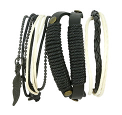 Handmade Black and White Layered Leather Bracelet with Beads