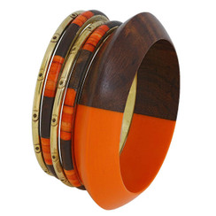 Indian Bracelet Bangles Brown Burnt Orange and Gold