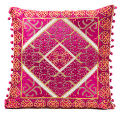 In-Sattva Fuchsia Embroidered Cushion Cover and Pillow with Fringes 20 X 20