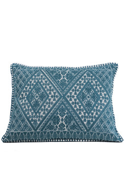 In-Sattva Teal Symmetrical Embroidered Cushion Cover and Pillow 14 X 20