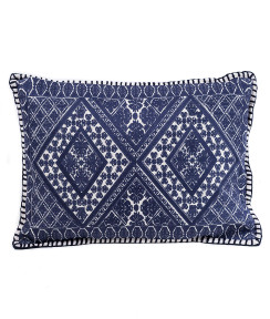 In-Sattva Navy Symmetrical Embroidered Cushion Cover and Pillow 14 X 20
