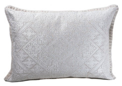 In-Sattva Off-White Shiny Cushion Cover and Pillow 14 X 20