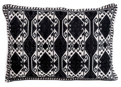 In-Sattva Home Geometric and Ancient Art Hand-Embellished Cotton Cushion Cover Decorative Pillow, Blk, 14 x 20