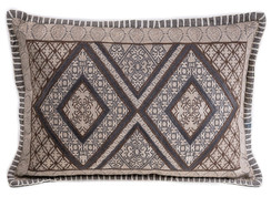 In-Sattva Beige Symmetrical Embroidered Cushion Cover and Pillow 14 X 20