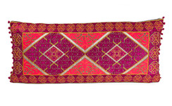 In-Sattva Red Purple Border Embroidered Cushion Cover and Pillow 14 X 30